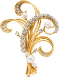 Estate Jewelry:Brooches - Pins, Diamond, Cultured Pearl, Platinum, Gold Brooch, French. ...