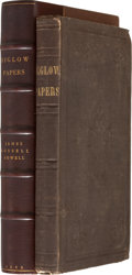 Books:First Editions, [James Russell Lowell]. Homer Wilbur. Biglow Papers.Cambridge: Published by George Nichols, 1848. First edition, bi...