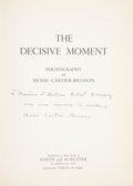 Books:Signed Editions, Henri Cartier-Bresson. The Decisive Moment, Photography by HenriCartier-Bresson. New York: Simon and Schuster in co...
