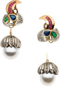 Estate Jewelry:Earrings, Multi-Stone, Diamond, South Sea Cultured Pearl, Platinum, GoldConvertible Earrings. ...