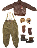 Military & Patriotic:WWII, Fantastic Identified Painted A-2 Flight Jacket and Flight Gear.... (Total: 6 Items)