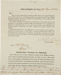 """Autographs:Statesmen, John Calhoun Partly Printed Document Signed as Secretary of War.Two pages including integral blank, 8"""" x 9.75"""", Washington,..."""
