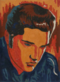 Music Memorabilia:Original Art, Elvis Presley Paint-by-Numbers Portrait....