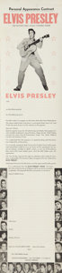 Music Memorabilia:Documents, Elvis Personal Appearance Contract....