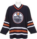 Hockey Collectibles:Uniforms, 2000-01 Mike Comrie Game Worn Edmonton Oilers Rookie Jersey....