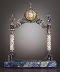 Silver Smalls:Other , A VIENNESE SILVER, SILVER GILT AND ENAMEL DESK CLOCK . HermannBöhm, Vienna, Austria, circa 1867-1874. Marks: HB, A. 10-...