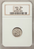 Three Cent Nickels: , 1874 3CN MS61 NGC. NGC Census: (5/117). PCGS Population (4/144).Mintage: 789,300. Numismedia Wsl. Price for problem free N...