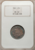 Seated Quarters: , 1861 25C MS62 NGC. NGC Census: (55/217). PCGS Population (69/231).Mintage: 4,854,600. Numismedia Wsl. Price for problem fr...