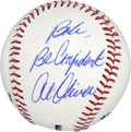"Autographs:Baseballs, Al Oliver Single Signed Inscription Baseball. Nicknamed ""Scoops,""seven-time All-Star Al Oliver enjoyed a successful career..."