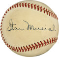 Autographs:Baseballs, Vintage Baseball Signed by Musial, Brecheen, and Dyer. This trioenjoyed the years after the war together, as manager Eddi...