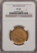 Indian Eagles: , 1907 $10 No Periods VF30 NGC. NGC Census: (2/5511). PCGS Population(0/5380). Mintage: 239,400. Numismedia Wsl. Price for p...