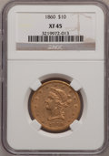 Liberty Eagles: , 1860 $10 XF45 NGC. NGC Census: (33/87). PCGS Population (26/46).Mintage: 15,105. Numismedia Wsl. Price for problem free NG...