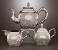 Silver & Vertu:Hollowware, A THREE-PIECE CHINESE EXPORT SILVER TEA SET . Luen Wo, Shanghai, China, circa 1875-1925. Marks: LUEN WO, SHANGHAI, (shop... (Total: 3 Items)