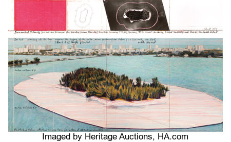 CHRISTO (American, b. 1935) Surrounded Islands (Project for Biscayne Bay, Greater Miami, Florida), 1983 Mixed media 5... (Total: 2 Items)