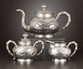 Silver & Vertu:Hollowware, A THREE-PIECE CHINESE EXPORT SILVER TEA SET . Unidentified maker, possibly Shanghai, China, circa 1900-1925. Marks: (shop ma... (Total: 3 Items)