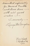 Books:Signed Editions, Langston Hughes. Montage of a Dream Deferred. New York: Henry Holt and Company, [1951]. First edition. Inscrib...