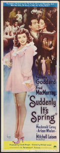 """Movie Posters:Comedy, Suddenly It's Spring (Paramount, 1946). Insert (14"""" X 36""""). Comedy.. ..."""