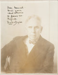 Autographs:Authors, Theodore Dreiser Photograph Signed. The photograph was taken by American painter Charles Sheeler in 1926, likely while he wa...