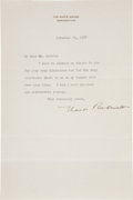 "Autographs:U.S. Presidents, Eleanor Roosevelt Typed Letter Signed as first lady. One page, 6"" x9.25"", Washington, November 29, 1937, to ""Mr. Martin..."