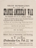 "Entertainment Collectibles:Movie, Spanish-American War Movie Advertisement. One page, 10.5"" x 14.25"", n.p., February 22, 1899, with the heading, ""Grand Repr..."