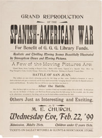 "Spanish-American War Movie Advertisement. One page, 10.5"" x 14.25"", n.p., February 22, 1899, with the heading..."