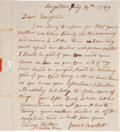 "Autographs:Statesmen, Josiah Bartlett Autograph Letter Signed. One page, 6"" x 7.25"",Kingstown [New Hampshire], July 14, 1789, to his daughter, Rh..."