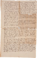 "Autographs:Statesmen, Josiah Bartlett: Draft of His ""Last Will and Testament,""ca. 1776. One page, 8"" x 13"", Philadelphia, n.d. In..."