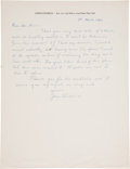 """Autographs:Authors, John Steinbeck Autograph Letter Signed. One page, 8.5"""" x 11"""", Sag Harbor, Long Island, New York, March 18, 1966. Four years ..."""