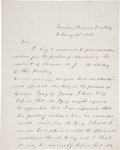 """Autographs:Military Figures, Arizona Territory: Autograph Letter Signed concerning an appointment of a territorial marshal. One and one-half pages, 7.75""""..."""