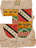 Autographs:Statesmen, [Josiah Bartlett]. Bartlett Coat of Arms. This distinctive andcolorful hand-drawn coat of arms belonged to the family of Jo...