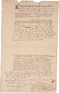 "Autographs:Statesmen, Josiah Bartlett Autograph Land Deed Signed. One page, 8"" x 13,Kingston, New Hampshire, March 28, 1763. In engrossing this d..."