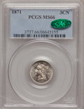 Three Cent Nickels, 1871 3CN MS66 PCGS. CAC....
