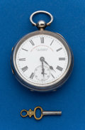 Timepieces:Pocket (post 1900), Swiss, 18 Size, Sterling Key Wind. ...