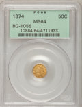 California Fractional Gold: , 1874 50C Indian Round 50 Cents, BG-1055, High R.4, MS64 PCGS. PCGSPopulation (6/1). NGC Census: (6/1). (#10884)...