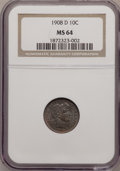 Barber Dimes: , 1908-D 10C MS64 NGC. NGC Census: (32/29). PCGS Population (26/29).Mintage: 7,490,000. Numismedia Wsl. Price for problem fr...