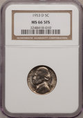 Jefferson Nickels, 1953-D 5C MS66 Five Full Steps NGC. NGC Census: (4/0). PCGSPopulation (12/0). (#84050)...