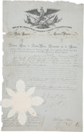 "Autographs:Non-American, Antonio Lopez de Santa Anna Partially-Printed Military CommissionSigned ""A. L. de Sta. Anna"" as president of the Republ..."