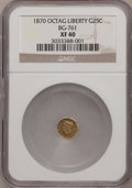 California Fractional Gold: , 1870 25C Liberty Octagonal 25 Cents, BG-761, R.4, XF40 NGC. NGCCensus: (1/6). PCGS Population (1/71). (#10588)...
