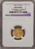 Liberty Quarter Eagles, 1851-D $2 1/2 --Improperly Cleaned--NGC Details. AU. Variety14-M....