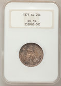 Seated Quarters: , 1877-CC 25C MS63 NGC. NGC Census: (85/142). PCGS Population(100/149). Mintage: 4,192,000. Numismedia Wsl. Price for proble...