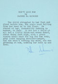 Books:Signed Editions, Daphne DuMaurier. Don't Look Now. Typed Excerpt, signed by the author in blue ink, from her 1971 collection of s...