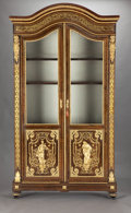 Furniture : French, A FRENCH MAHOGANY, GILT BRONZE AND BRASS INLAID GLASS FRONTEDCABINET . Unknown maker, probably Paris, France, circa 1880. U...(Total: 4 Items)