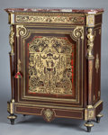 Furniture : French, A FRENCH MAHOGANY, BRASS AND TORTOISESHELL CABINET . Maker unknown,probably Paris, France, circa 1880. Unmarked. 43-1/4 x 3... (Total:4 Items)