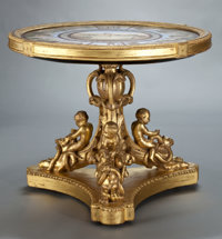 AN ITALIAN MICROMOSAIC TABLETOP SET WITHIN GILT WOOD BASE Maker unknown, Rome, Italy, circa 1825-1875 30 x 37-