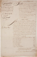 """Autographs:Non-American, Louis XVI of France Document Signed """"Louis"""" as king. Twopages (front and verso) in French, 9.5"""" x 14.25"""", August 28, 17..."""