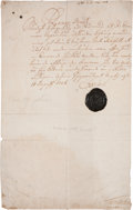 "Autographs:Non-American, Charles XII of Sweden Document Signed ""Carolus"" as king. Onepage, 8"" x 12.75"", n.p., August 11, 1716, with full wax sea..."