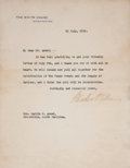 Autographs:U.S. Presidents, Woodrow Wilson Typed Letter Signed as president on White Housestationery concerning the U.S. peace treaty ratification foll...