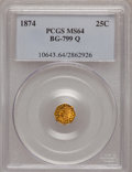 California Fractional Gold: , 1874 25C Indian Octagonal 25 Cents, BG-799Q, High R.5, MS64 PCGS.PCGS Population (14/8). NGC Census: (0/3). (#10643)...