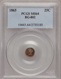 California Fractional Gold: , 1865 25C Liberty Round 25 Cents, BG-802, Low R.5, MS64 PCGS. PCGSPopulation (13/2). NGC Census: (2/0). (#10663)...