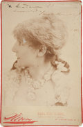 Autographs:Celebrities, Sarah Bernhardt Cabinet Card Signed and dated 1887. In thisphotograph, the popular French actress appears to be in costume....
